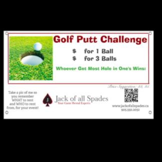 Golf Putt Challenge Sign